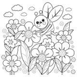 Abeja y flores Página del libro de colorear Imágenes de archivo libres de regalías