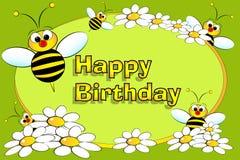 Abeja y flores - tarjeta de cumpleaños stock de ilustración