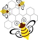 Abeja y miel stock de ilustración