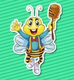 Abeja y miel Foto de archivo libre de regalías