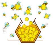 Abeja y miel Imagen de archivo libre de regalías