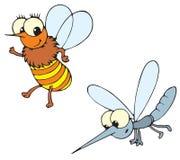 Abeja y mosquito (vector) stock de ilustración