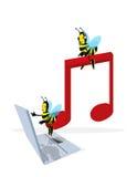 Abeja y nota musical stock de ilustración