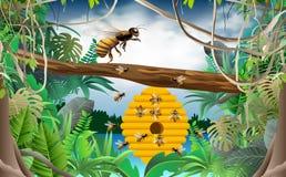 Abeja y panal en la selva ilustración del vector