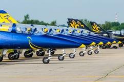 Abejas bálticas en los aviones L-39 moscú Aeropuerto Zhukovsky 20 DE JULIO 2017 Imagen de archivo