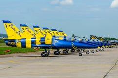 Abejas bálticas en los aviones L-39 moscú Aeropuerto Zhukovsky 20 DE JULIO 2017 Imagenes de archivo