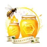 Abejas con el tarro y la miel de cristal libre illustration
