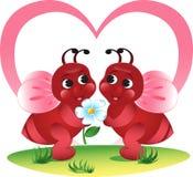Abejas de la tarjeta del día de San Valentín Imagenes de archivo