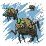 Abejas del zombi en vuelo durante Halloween stock de ilustración