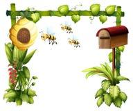 Abejas en el jardín con un buzón ilustración del vector