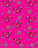 Abejas en el zumbido en rosa brillante libre illustration