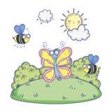 Abejas hermosas que vuelan con la mariposa libre illustration