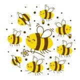 Abejas lindas de la miel aisladas en blanco stock de ilustración
