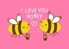 Abejas lindas de la miel en rosa stock de ilustración