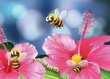 Abejas que vuelan en jardín stock de ilustración