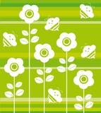 abejas y flores ilustración del vector
