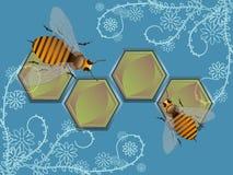 Abejas y flores decorativas ilustración del vector