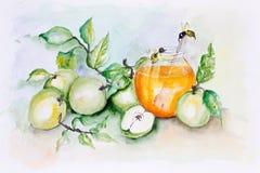 Abejas y manzanas de la miel ilustración del vector