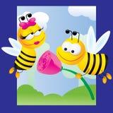 Abejas y rosas ilustración del vector