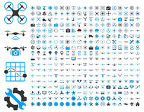 Abejones del aire e iconos de las herramientas del quadcopter