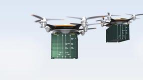 Abejones pesados que aterrizan en la tierra para entregar los contenedores para mercancías ilustración del vector