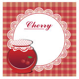 Abel for cherry jam. With white napkin vector illustration
