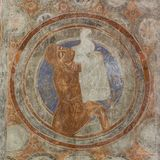 Abel holding a lamb in a white cloth. Abel holds a lamb in a white cloth and lifts it up to God. Romanesque mural in Vinslov church, Sweden, May 9, 2018 Royalty Free Stock Photos