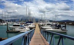 Abel pekar marinaen, den Airlie stranden, Australien. Lyxiga yachter och segelbåtar. Royaltyfri Bild