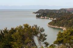 Abel Tasman kustlinje Arkivbild