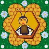 Abelha abstrata de encontro aos favos de mel em um frame da flor. Imagens de Stock Royalty Free