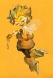 Abelha bonito dos desenhos animados que guarda o dipper do mel Imagens de Stock Royalty Free