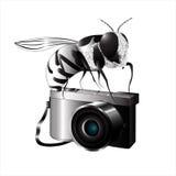 Abelha branca preta na câmera ilustração do vetor