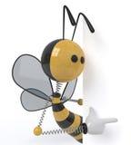 abelha 3d com um sinal Imagens de Stock