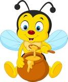 Abelha dos desenhos animados com potenciômetro do mel ilustração royalty free