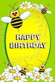 Abelha e flores - cartão de aniversário Fotografia de Stock