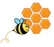 Abelha e uma colmeia da abelha ilustração stock