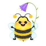Abelha emocional bonito dos desenhos animados com flor Imagens de Stock Royalty Free