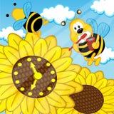 A abelha escova olhares dos dentes no girassol do relógio ilustração royalty free