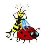 A abelha escuta a música. ilustração royalty free