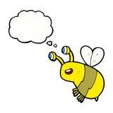 abelha feliz dos desenhos animados com bolha do pensamento ilustração do vetor