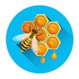 Abelha no ícone do apiário do favo de mel ilustração stock
