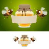 Abelhas do mel que guardaram a bandeira vazia Imagens de Stock
