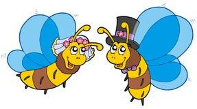 Abelhas do mel que wedding pares ilustração stock