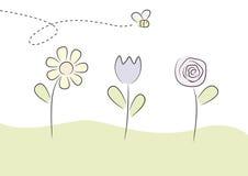 Abelhas e flores Imagens de Stock
