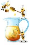 Abelhas e mel ilustração royalty free