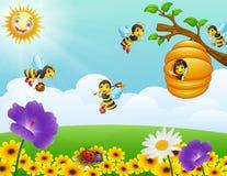 Abelhas que voam em torno da colmeia no jardim ilustração do vetor