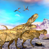Abelisaurus Dinosaurs. Abelisaurus theropod dinosaurs hunt for their next prey as three Zhejiangopterus reptile birds follow them Royalty Free Stock Image