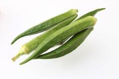 Abelmoschus esculentus isolato fresco e verde del gombo, - dito delle signore - Immagine Stock