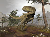 Abelisaurus dinosaur - 3D render. Abelisaurus dinosaur walking in the mountain among pine trees by cloudy day - 3D render Royalty Free Stock Photography