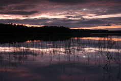 Abend auf dem See Stockfotos